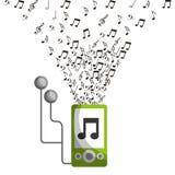 Mp3 music note earphones device vector illustration