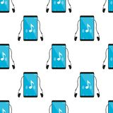 Mp3 Music Player Icon Seamless Pattern. A seamless pattern with black mp3 music player flat icon with blue screen and earphones, isolated on white background Stock Image