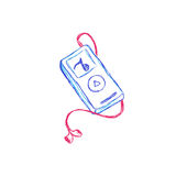 Mp3 musik, spelare, skissar, vektorn, illustration Royaltyfri Bild