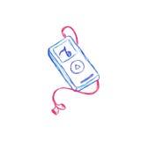 Mp3, muzyka, gracz, nakreślenie, wektor, ilustracja Obraz Royalty Free