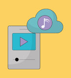 Mp3 and Play icon. Music online and Technology. Vector graphic Royalty Free Stock Photos