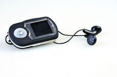 Mp3 player and Black earphones on white Royalty Free Stock Images