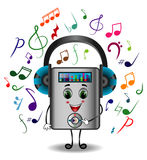 MP3 Player Character with Headphones Royalty Free Stock Photos