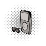 Mp3 player comics icon Royalty Free Stock Photography