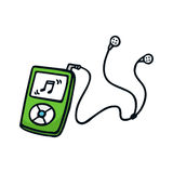 MP3 player. Cute doodle sketch illustration  on white Stock Images