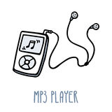MP3 player. Cute doodle sketch  on white Stock Photography