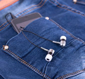 MP3 player and earphones Royalty Free Stock Images