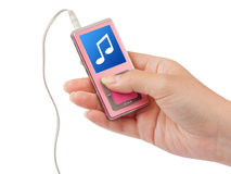 Mp3 player in hand Stock Images
