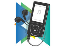 MP3 Player icon. On a background of multicolored triangles Royalty Free Stock Images