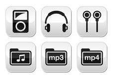 Mp3 player vector buttons set Stock Photo