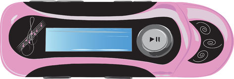 Mp3 player. Pink and black mp3 player with a small display picture Stock Photography