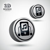 Mp3 player round icon, 3d vector design element. Stock Photo