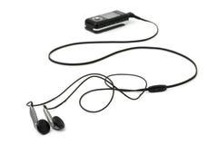 MP3-Player und Kopfhörer Stockbild