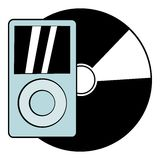 Mp3 player vinyl record icon cartoon Royalty Free Stock Images
