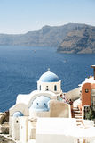 Orthodox church at Santorini Stock Photos