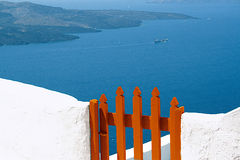 Wooden door at Santorini Royalty Free Stock Photography