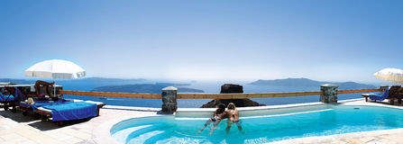 Luxury resort at Santorini Stock Image