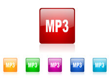 Mp3 square web glossy icon Royalty Free Stock Photo