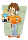 mp3 плэйер характера мальчика слушая Стоковое фото RF