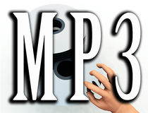 MP3 11. An image of some cds or DVDs with the word MP3 in the foreground, this word represents how CD's and DVD's are being converted to the MP3 format Royalty Free Stock Photography