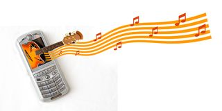MP3 Cell Phone. MP3 Music cellular phone with Guitar coming out of screen Stock Image