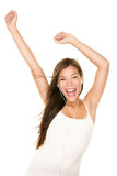 MP3 de vrouw van de muziekspeler het dansen Stock Foto's