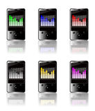 MP3 graphic equalizer colored set. Illustration of six generic touch screen MP3 players isolated on a white background with a luminous graphic equalizer display Stock Photo