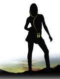 MP3 meisje Stock Foto's
