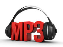 Mp3 music. Mp3 text and headphones on a white background (3d render&#x29 Stock Photography