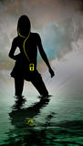Mp3 music. A womans silhouette in a body of water with MP3 player Stock Images
