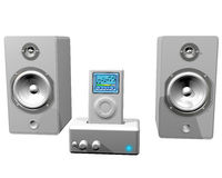 MP3 Music. Isolated illustration of an MP3 player and speaker system Royalty Free Stock Photo