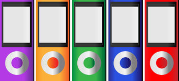 MP3 music players. Set of five colorful MP3 music media players vector Stock Photos