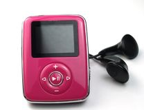Mp3 pink. Pink mp3 player isolated on white stock photography