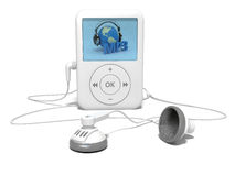 Mp3 player. With headphones on the white Royalty Free Stock Photo