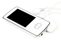 Mp3 Player. With headphone on white background Stock Photography