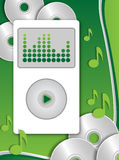 Mp3 player. White mp3 player with some cd on green background royalty free illustration