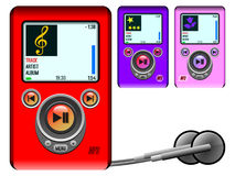 Mp3 Player. Three cool looking Mp3 Players (red, violet and pink), isolated on white background Stock Photography