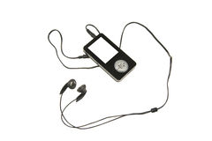 MP3 player. Black mp3 player with blank screen stock photos