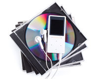MP3 player and CD disk. Modern MP3 player and CD disk on a white background. Close up Royalty Free Stock Images