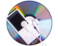 MP3 player and CD disk. Modern MP3 player and CD disk on a white background. Close up Royalty Free Stock Photo