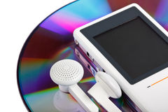 MP3 player and CD disk Stock Photo