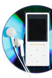 MP3 player and CD disk. Modern MP3 player and CD disk on a white background. Close up Royalty Free Stock Image