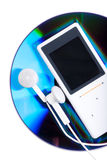 MP3 player and CD disk Stock Photography