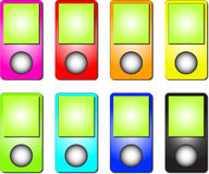 Mp3 Player Colour Set Royalty Free Stock Images