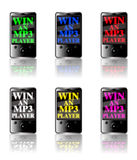 MP3 Player Competition icon set. Six generic touch screen MP3 players isolated on a white background with a luminous display on each screen in various colors Stock Image