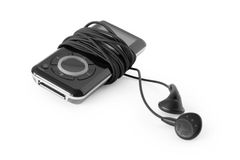 Mp3 player with earbuds Stock Photography