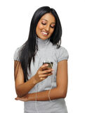 MP3 player girl Stock Photography
