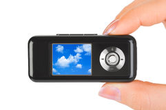 Mp3 player in hand Stock Photos