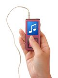 Mp3 player in hand Stock Photography