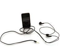 MP3 player with headphones Stock Photography